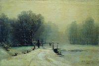 Зимний пейзаж с мостиком. 1885