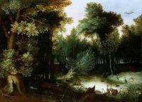 Лесной пейзаж с охотником (Частная коллекция)