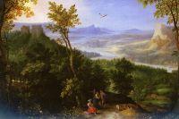 Пейзаж с фигурами на лесной дороге
