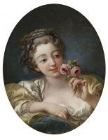 Девушка с розой (мастерская Буше) (1760-е) (54.6 ? 42.5) (Нью-Йорк, Коллекция Фрик)