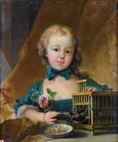 Приписывается Буше. Портрет Александрины Ленорман д'Этиоль, играющей с щеглом, 1744-1754 (18 век) (54 ? 45.5) (частная коллекция)