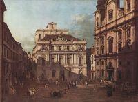 Вид Вены, площадь перед университетом с юго-востока, большой актовый зал университета и церковь Иезу (1759)