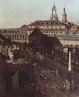 Вид Дрездена, крепостные укрепления в Дрездене, крепостной ров с мостом. Деталь (1750)