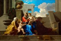 Святое семейство на ступенях (1648) (72.4 х 111.7) (Кливленд, Музей искусства)
