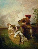 Гитарист и молодая дама с нотной тетрадью (возможно, 1718) (24.3 x 18.4) (Мадрид, Прадо)