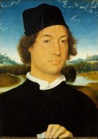 Портрет мужчины на фоне пейзажа (1490) (35 x 24) (Флоренция, Уффици)