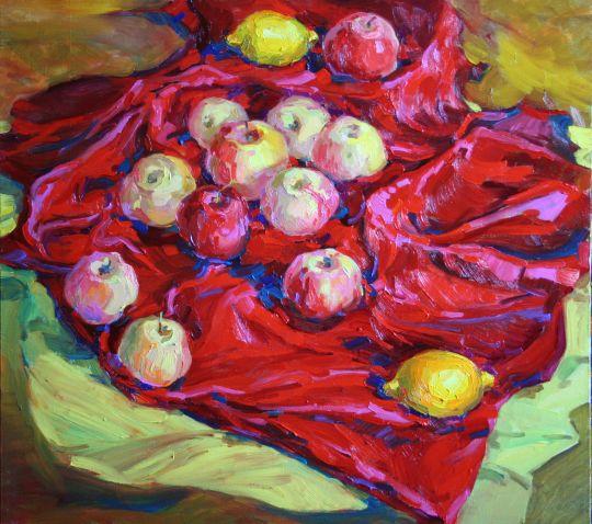 Натюпморт с антоновскими яблоками.