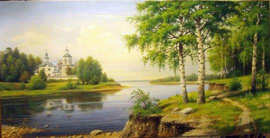 Пейзаж с церквью