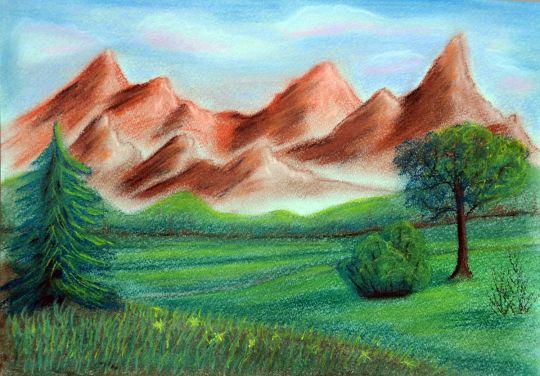 расчитать как, рисунок горы цветными карандашами поэтапно отношения