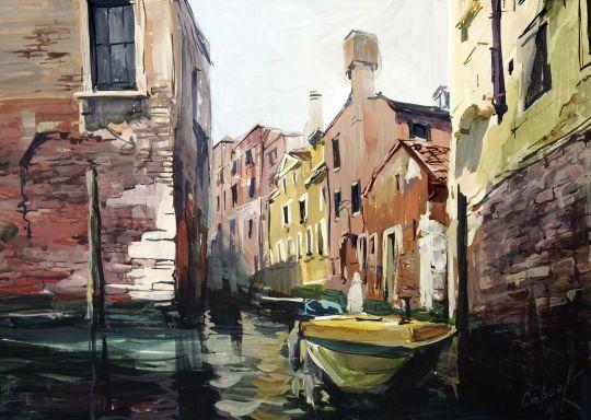 Венеция желтая лодка