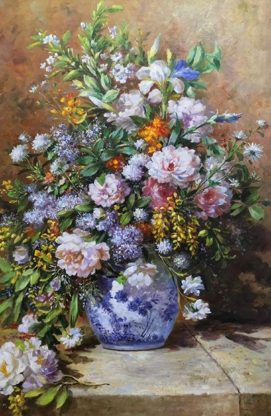 Копия картины Пьера Огюста Ренуара. Натюрморт с большой цветочной вазой