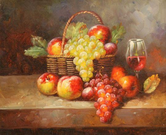Натюрморт. Вино, виноград и яблоки