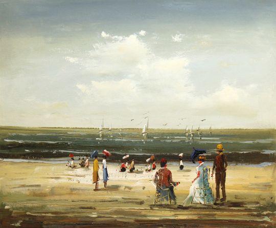 На пляже в Бретани (картина Кристины Виверс)