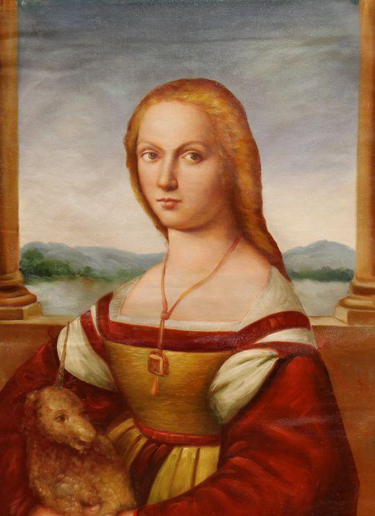 Дама с единорогом (Dama col liocorno, копия картины Рафаэля Санти)