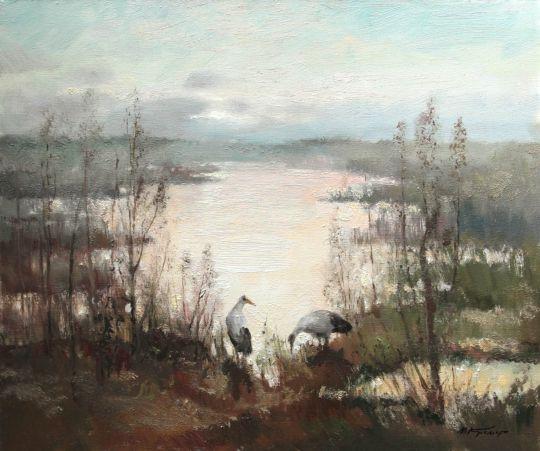 Утро на болоте, журавли