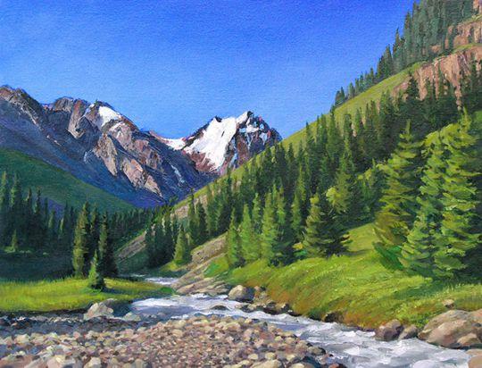 Горы, речка, елки