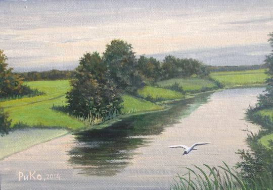 Рассвет на реке. Утро
