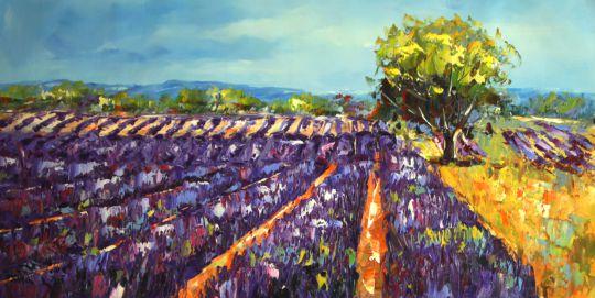 Лавандовые поля. Фиолетовый. Картина Хосе Родригеса
