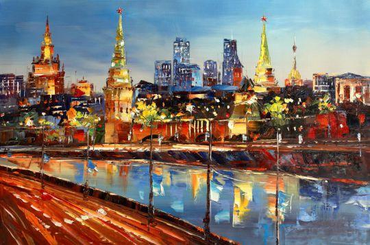 Москва. Вид на Кремль. Картина Хосе Родригеса