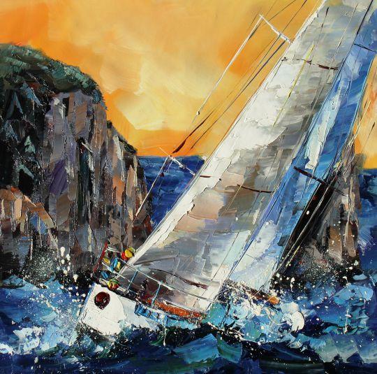 Регата. Вдоль скалистых берегов. Картина Хосе Родригеса
