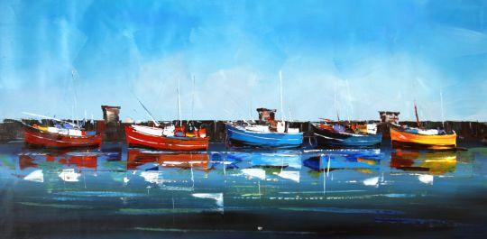 Лодки ловцов сардин. Картина Хосе Родригеса