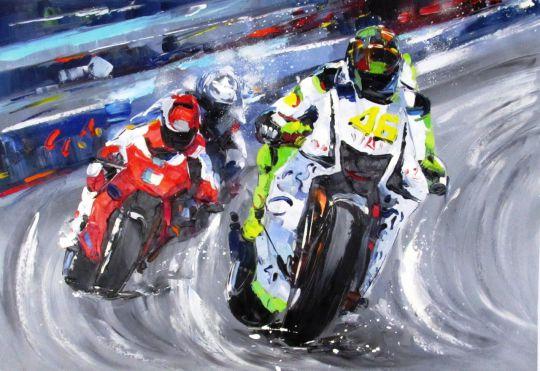 Мотогонки. Картина Хосе Родригеса