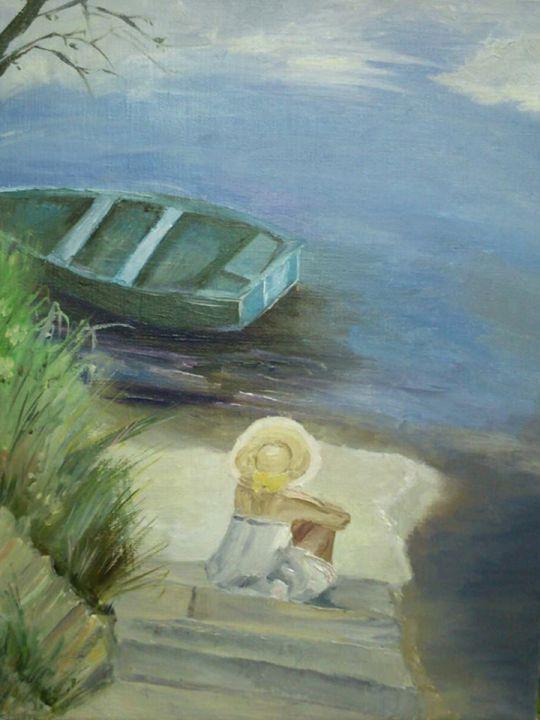 на берегу пруда