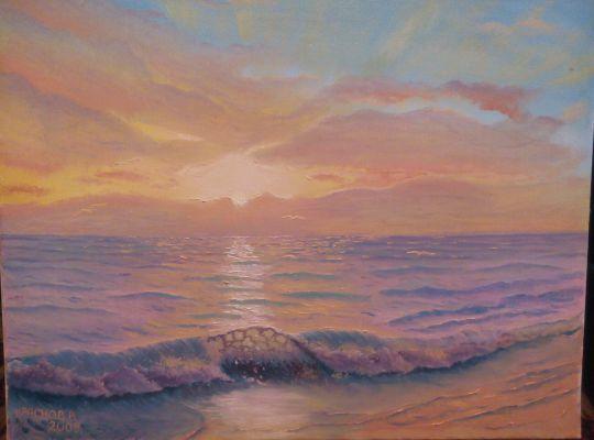 вечерний закат на море