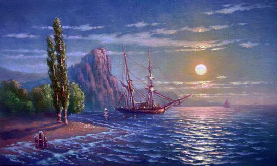 Море в лунном свете.