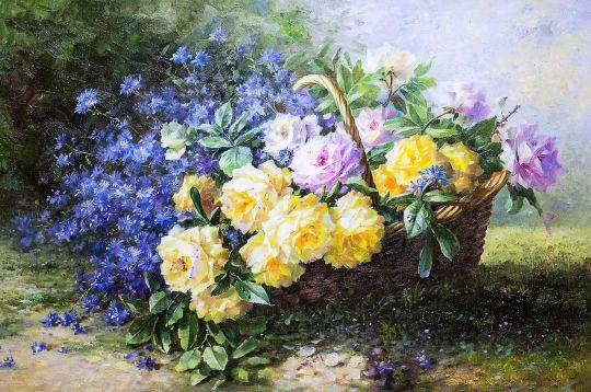 Натюрморт с желтыми розами в корзине