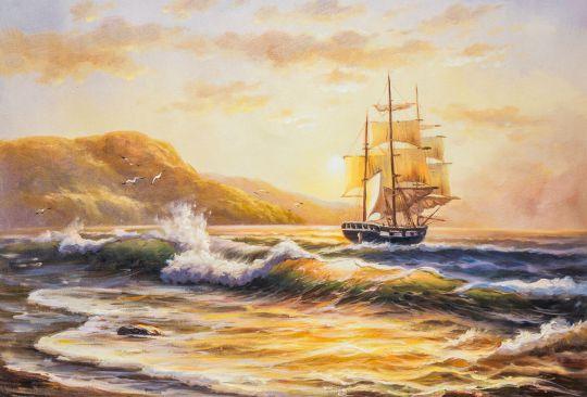 """Морской пейзаж маслом """"Парусник, закат. Отправляясь в павание"""""""