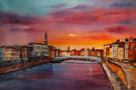 Тосканский пейзаж. Пиза. Закат на реке»