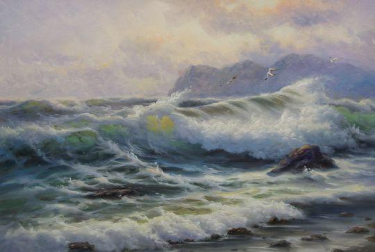 """Морской пейзаж маслом """"Бурное море весной N1"""""""