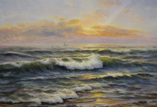 """Морской пейзаж маслом """"Корабль на горизонте на фоне заката"""""""