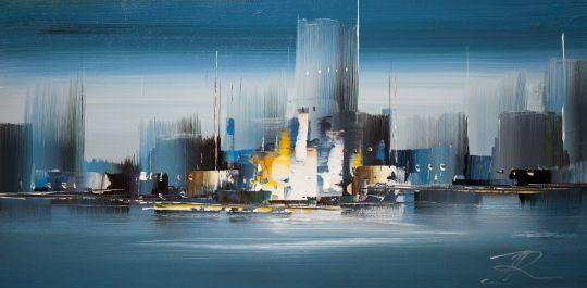 """Городской пейзаж """"Город в монохроме.  Синий цвет"""""""