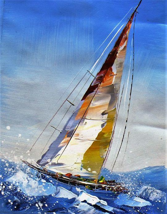 """Морской пейзаж маслом """"Яхтинг. Полный вперед N2"""""""