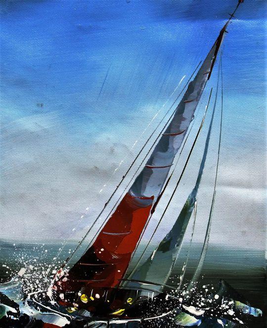 """Морской пейзаж маслом """"Яхтинг. Полный вперед N3"""""""