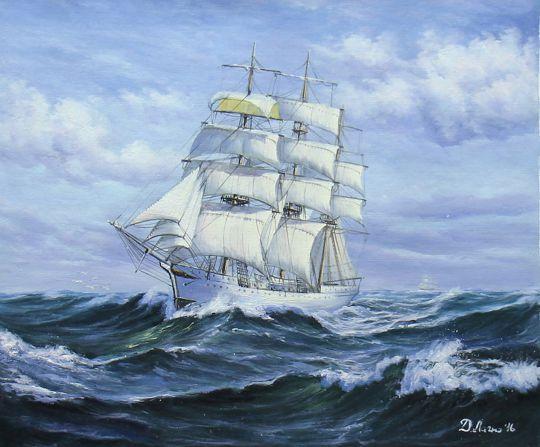 """Морской пейзаж маслом """"Парусник. Белой птицей над волнами"""""""