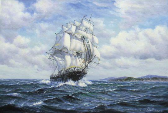 """Морской пейзаж маслом """"Парусник. К родным берегам N2"""""""