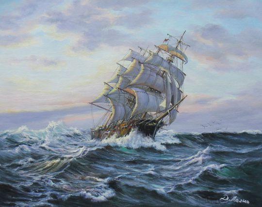 "Морской пейзаж маслом ""Парусник на фоне заката"""