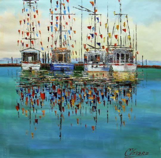 """Картина маслом """"Лодки и флажки"""""""