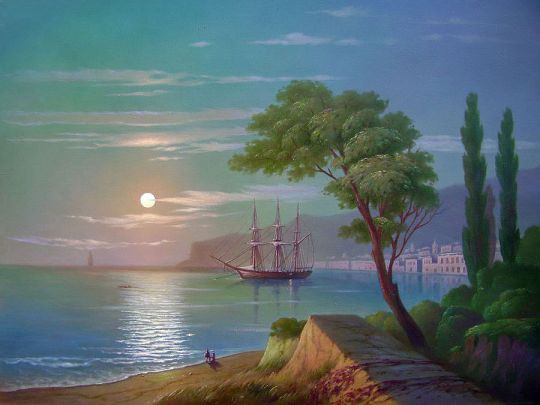 Морской берег в лунном свете.