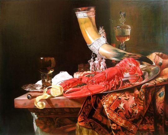 Натюрморт с питьевым рогом, принадлежащим гильдии стрелков святого Себастьяна, лобстером и бокалами