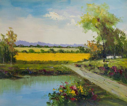Дорога к полям вдоль озера