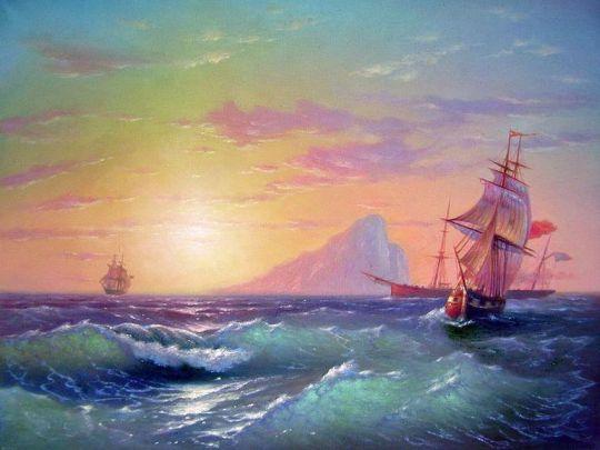 Корабли в морском просторе.