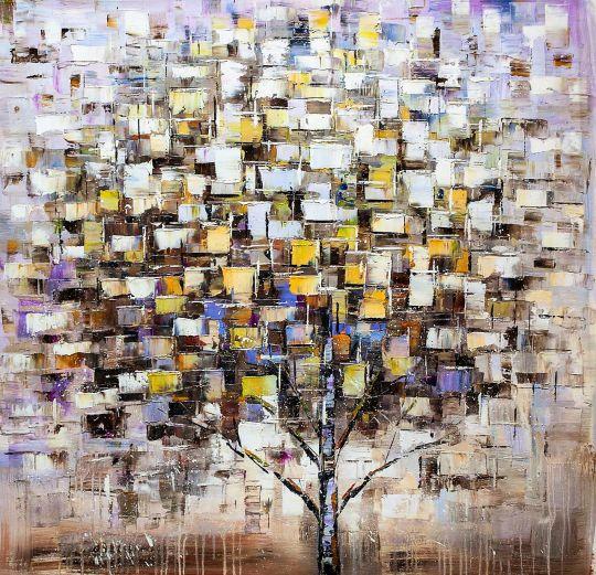 Дерево. Белый, бежевый и синий