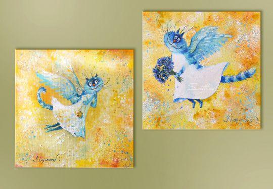 На крыльях любви-картина с кошками, холст, масло