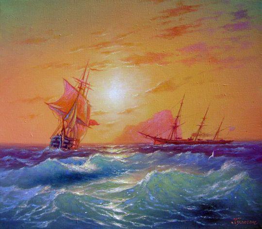 Корабли в голубом просторе.