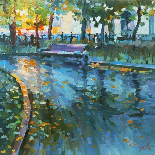 На мокром бульваре