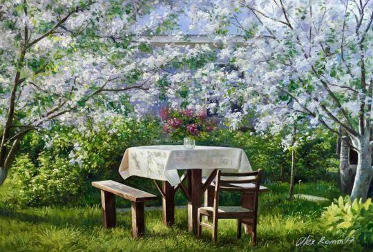 "Весенний пейзаж маслом ""У нас на даче"""
